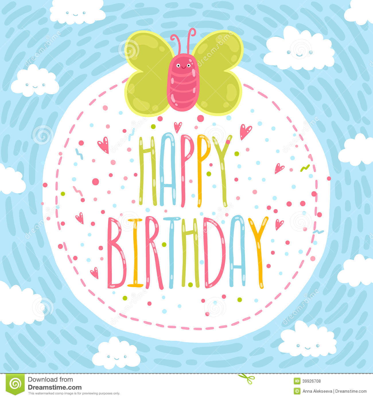 Happy Birthday Text Label With Butterfly. Stock Vector - Image: 39926708