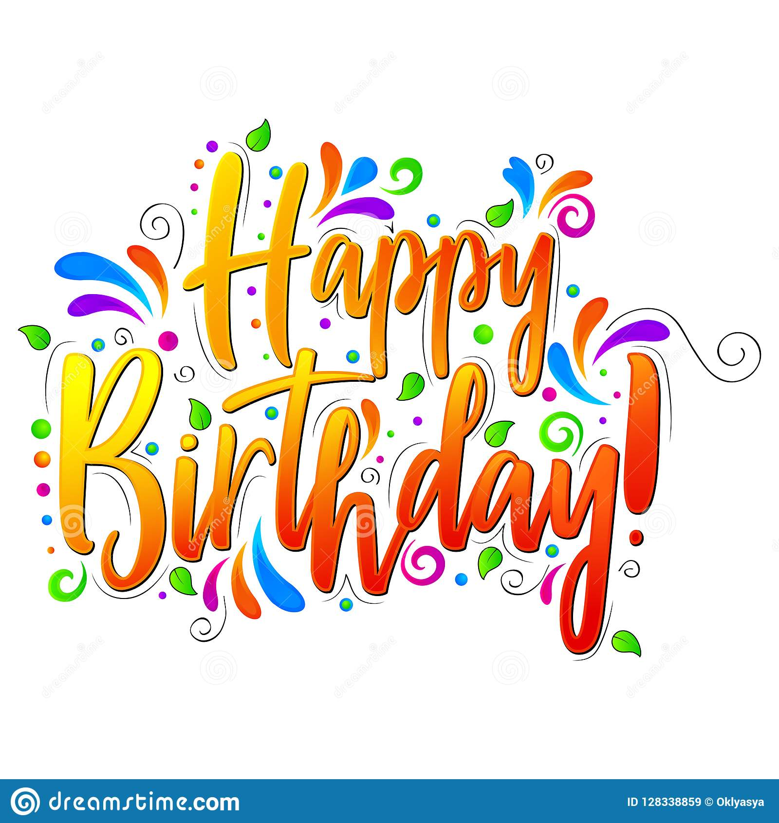 Happy Birthday Text Lettering Isolated Illustration On