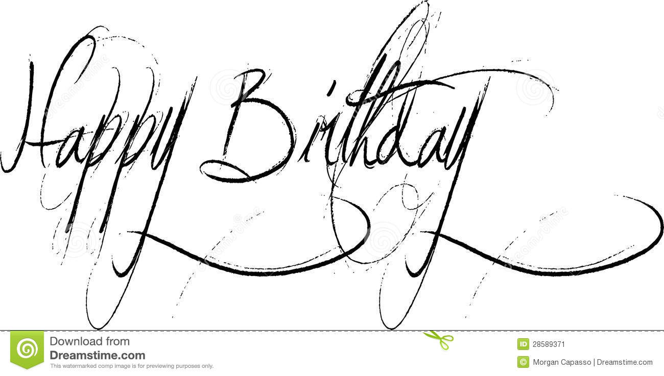Happy birthday calligraphy stock photos