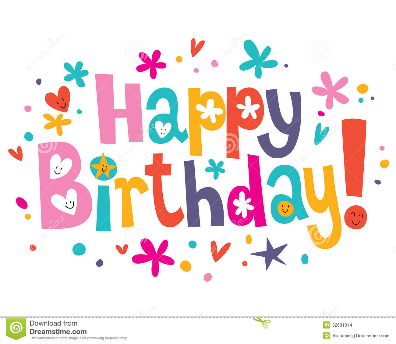 happy birthday text stock vector illustration of lettering 32681014