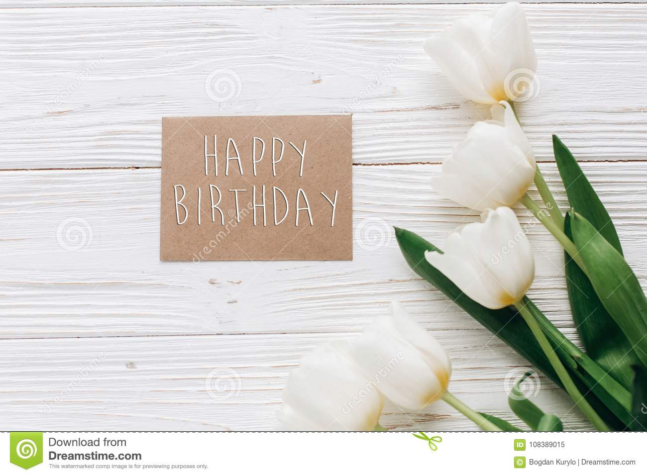 Download Happy Birthday Text Sign On Stylish Craft Greeting Card And Tuli Stock Image