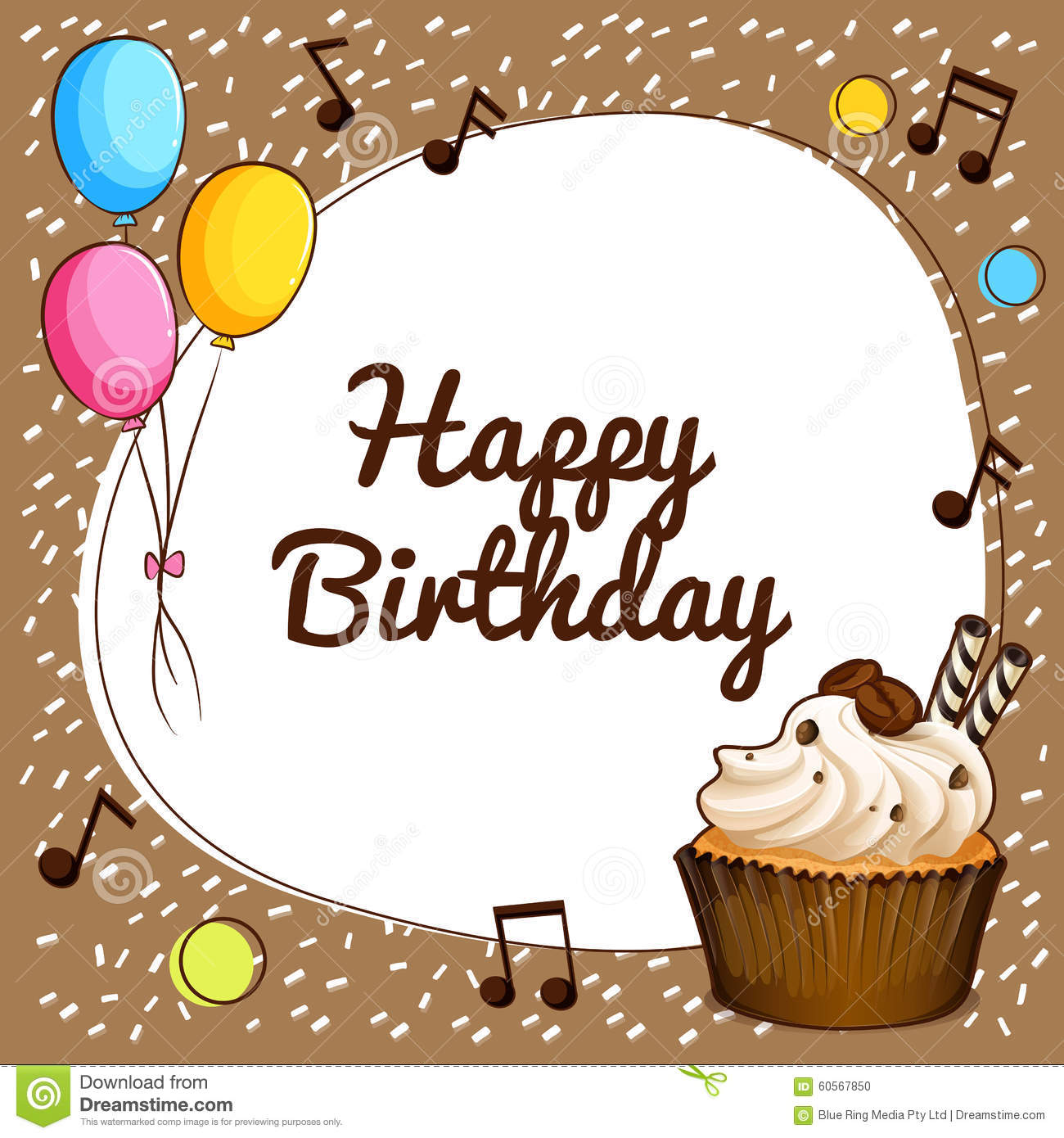 happy birthday theme with cupcake and balloons stock