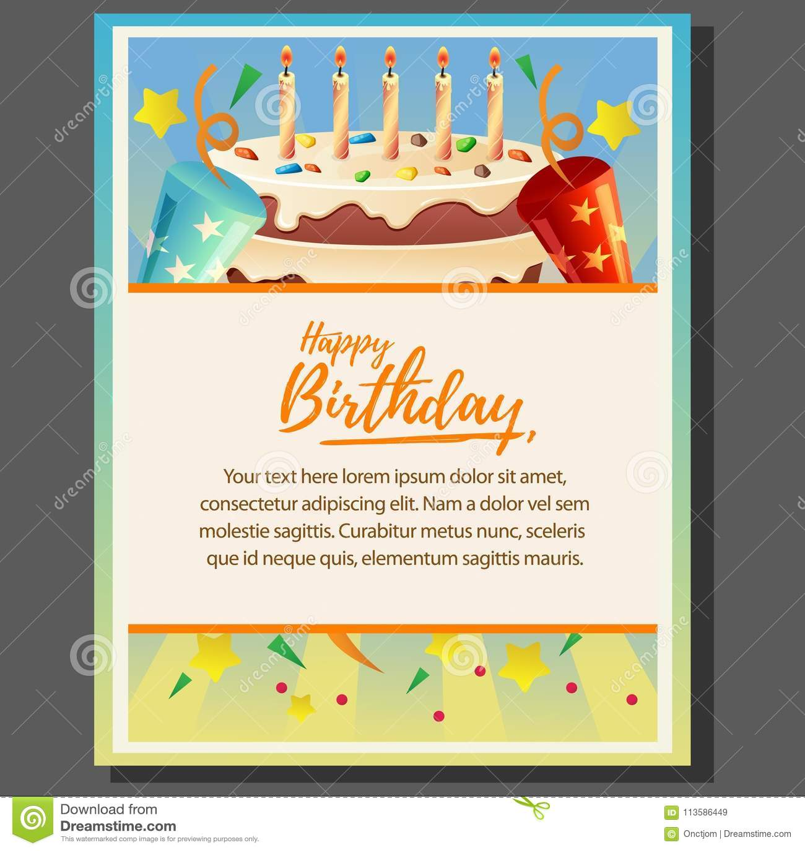 Happy Birthday Theme Poster With Big Cake Stock Vector