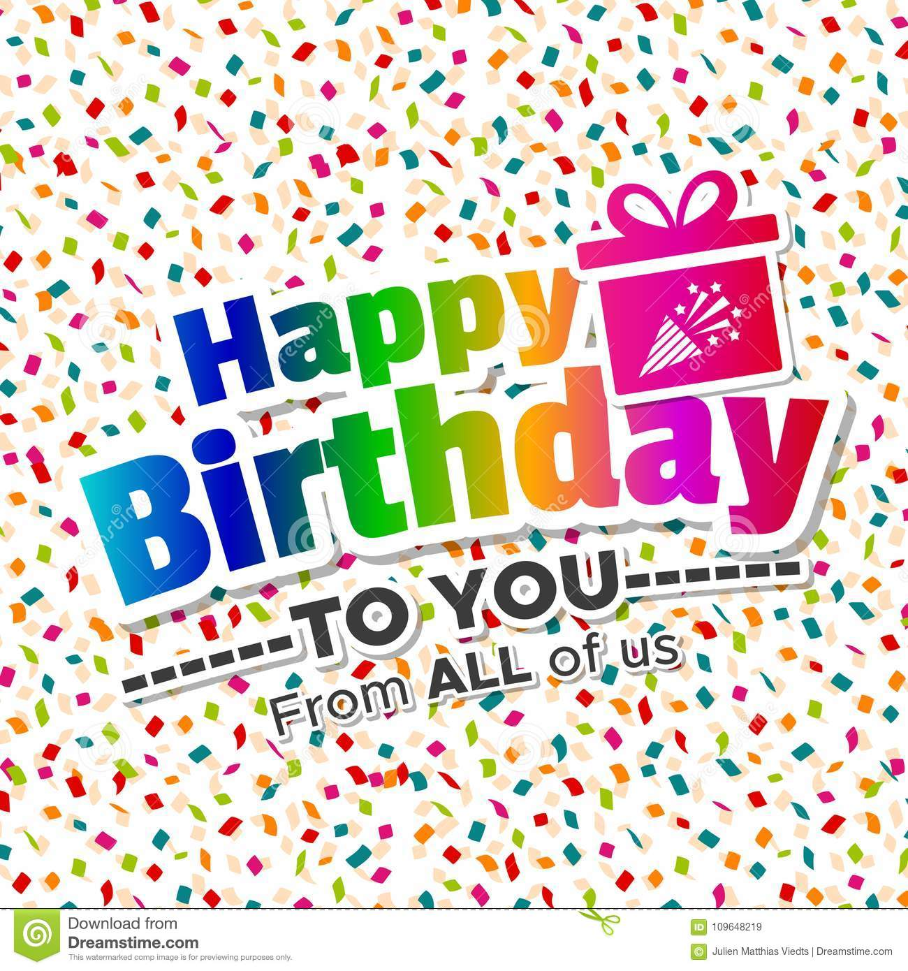Remarkable Happy Birthday To You From All Of Us Card Eps10 Vector Stock Personalised Birthday Cards Bromeletsinfo