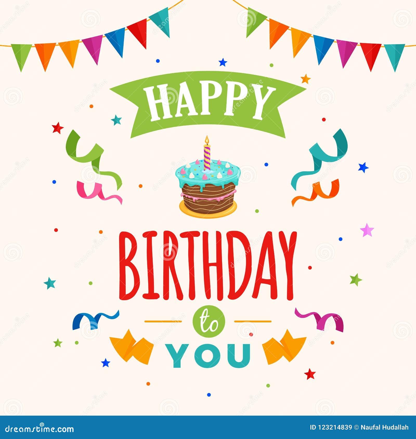 Happy Birthday To You Background Vector Birthday Cake Illustration