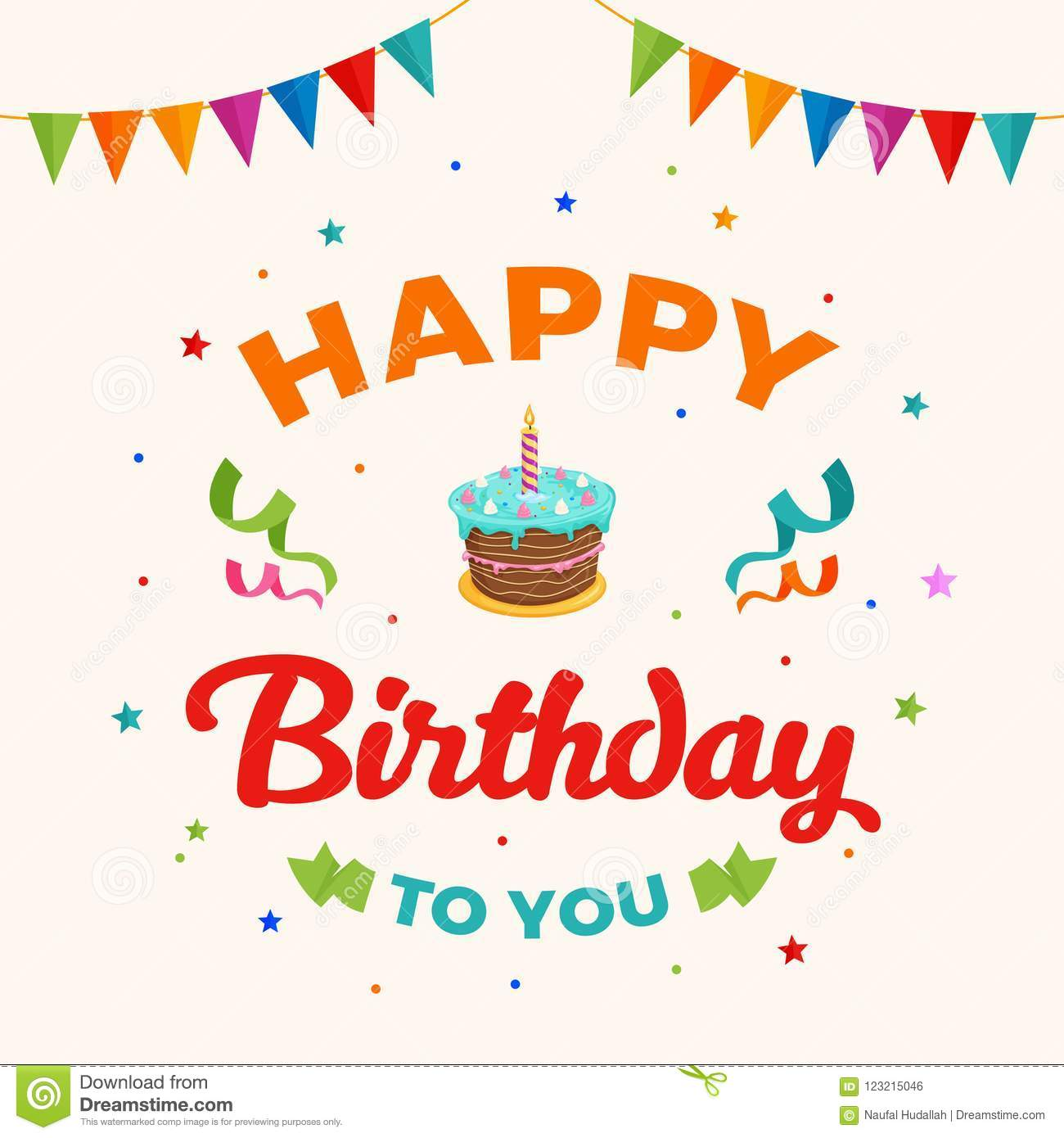 Happy birthday to you background vector. birthday cake illustration with party flag and confetti ornament. Greeting, banner
