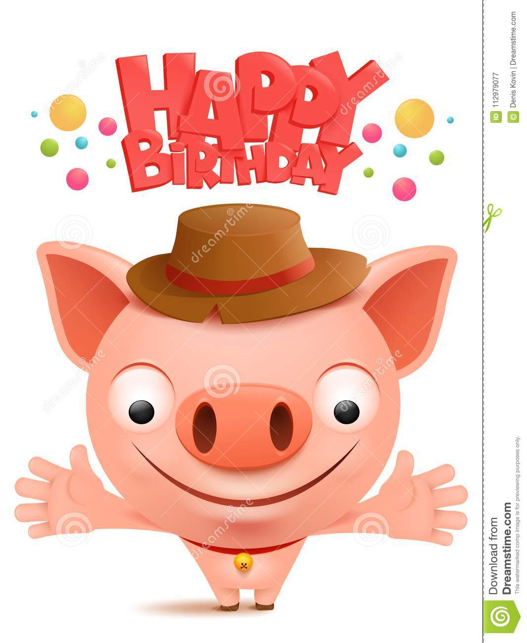 Happy birthday to you Funny little pig cartoon emoji character