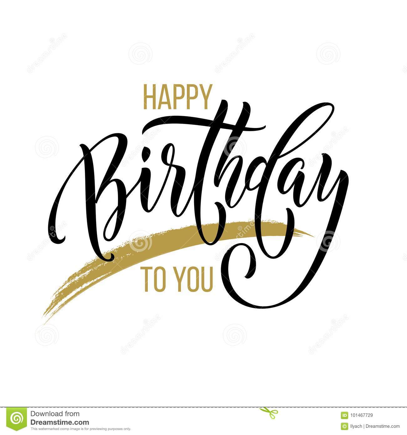 Happy Birthday To You Greeting Card Calligraphy Hand Drawn Vector