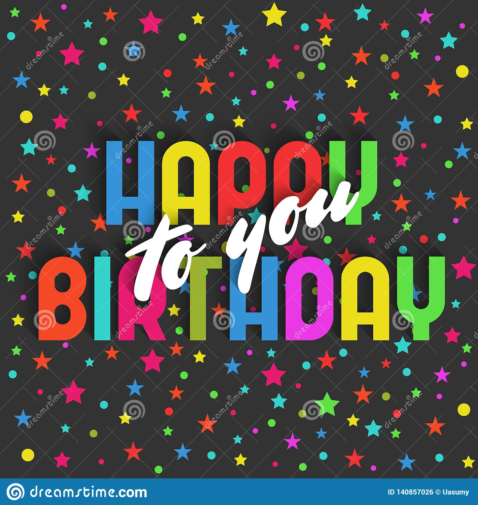 Happy Birthday To You Greeting Card Colorful Star And