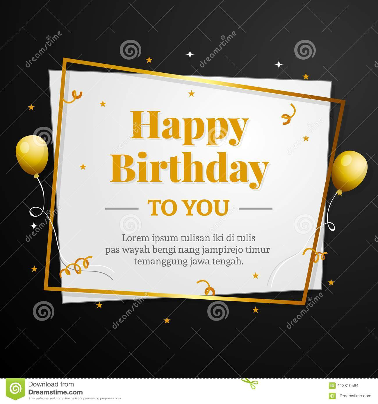 Happy Birthday To You Greeting Card Elegant Professional Banner