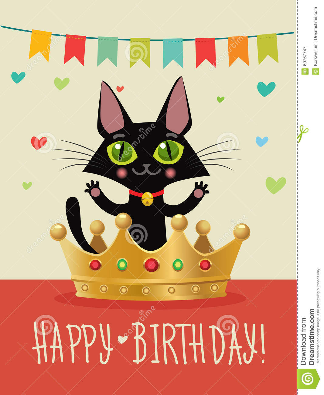 Happy Birthday To You Card With Funny Black Cat And Gold Crown Wish Humor