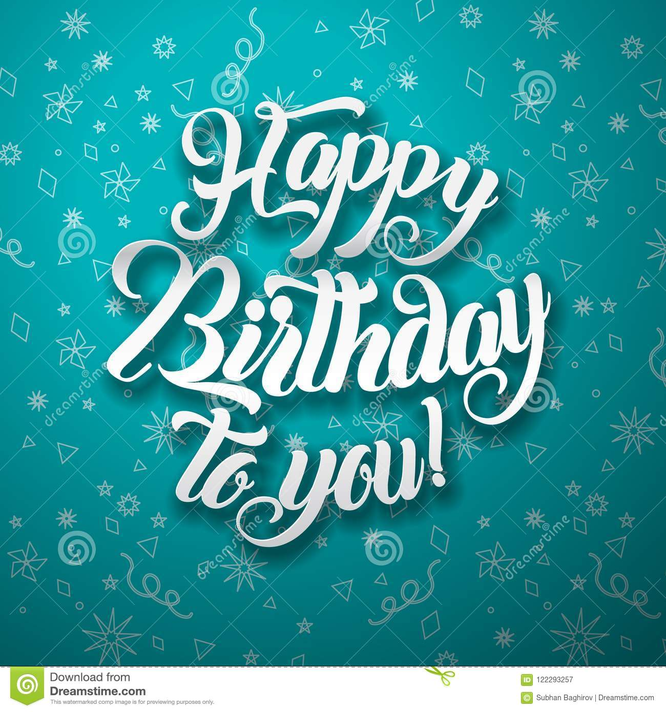 Happy Birthday To You Lettering Text Vector Illustration Birthday