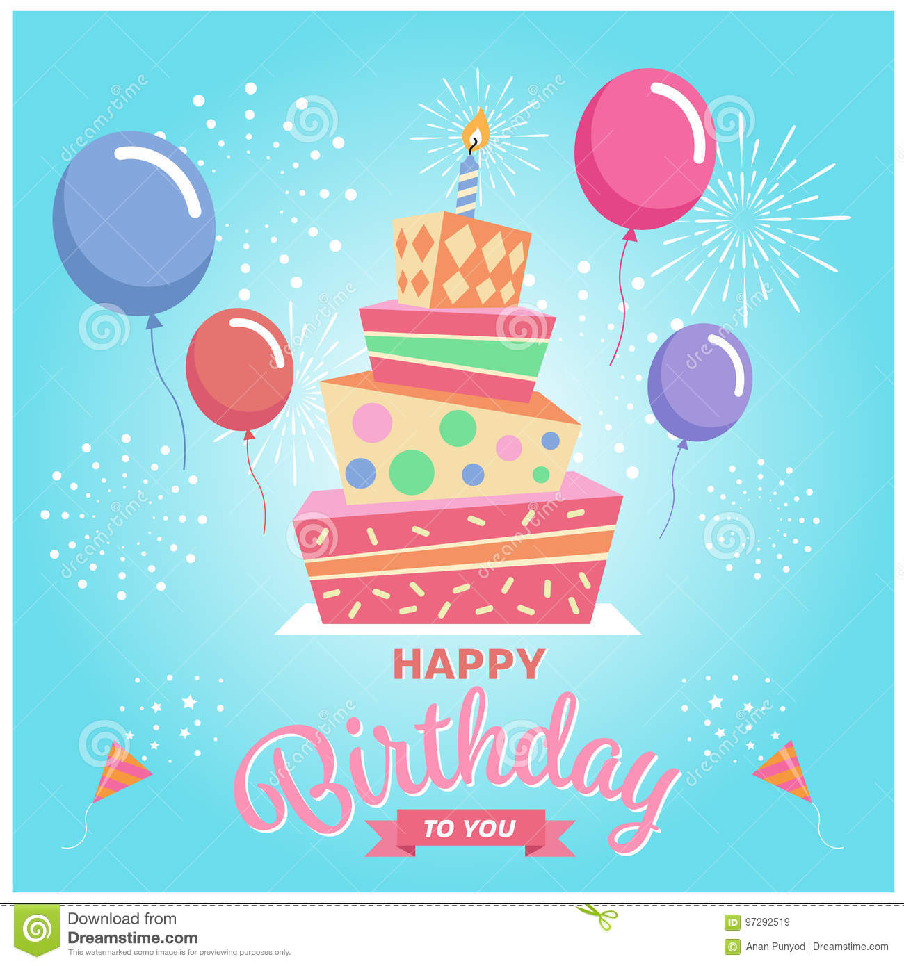 Happy Birthday To You With Square Cake Balloon And Firework On