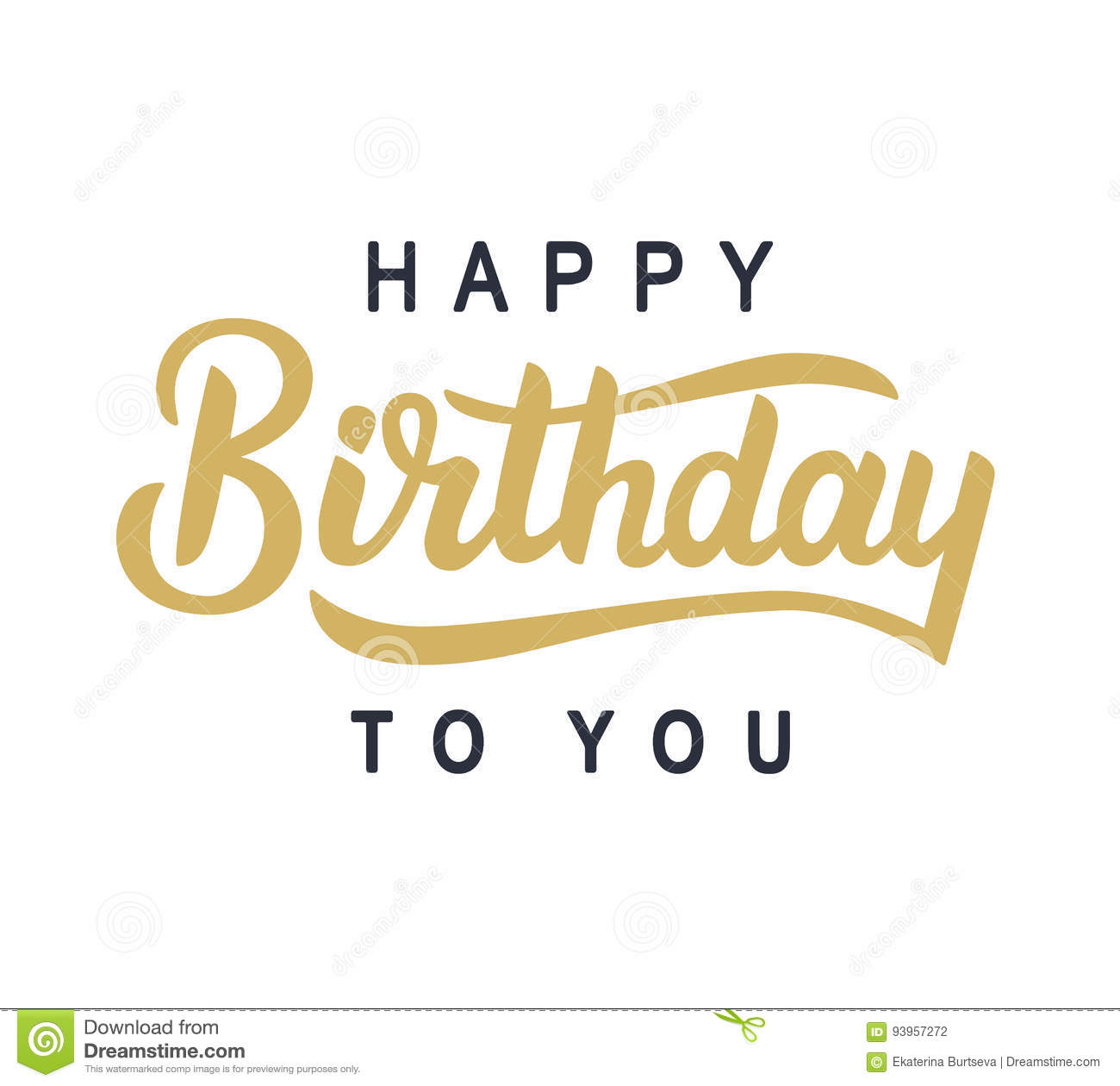 happy birthday to you typography poster stock vector illustration