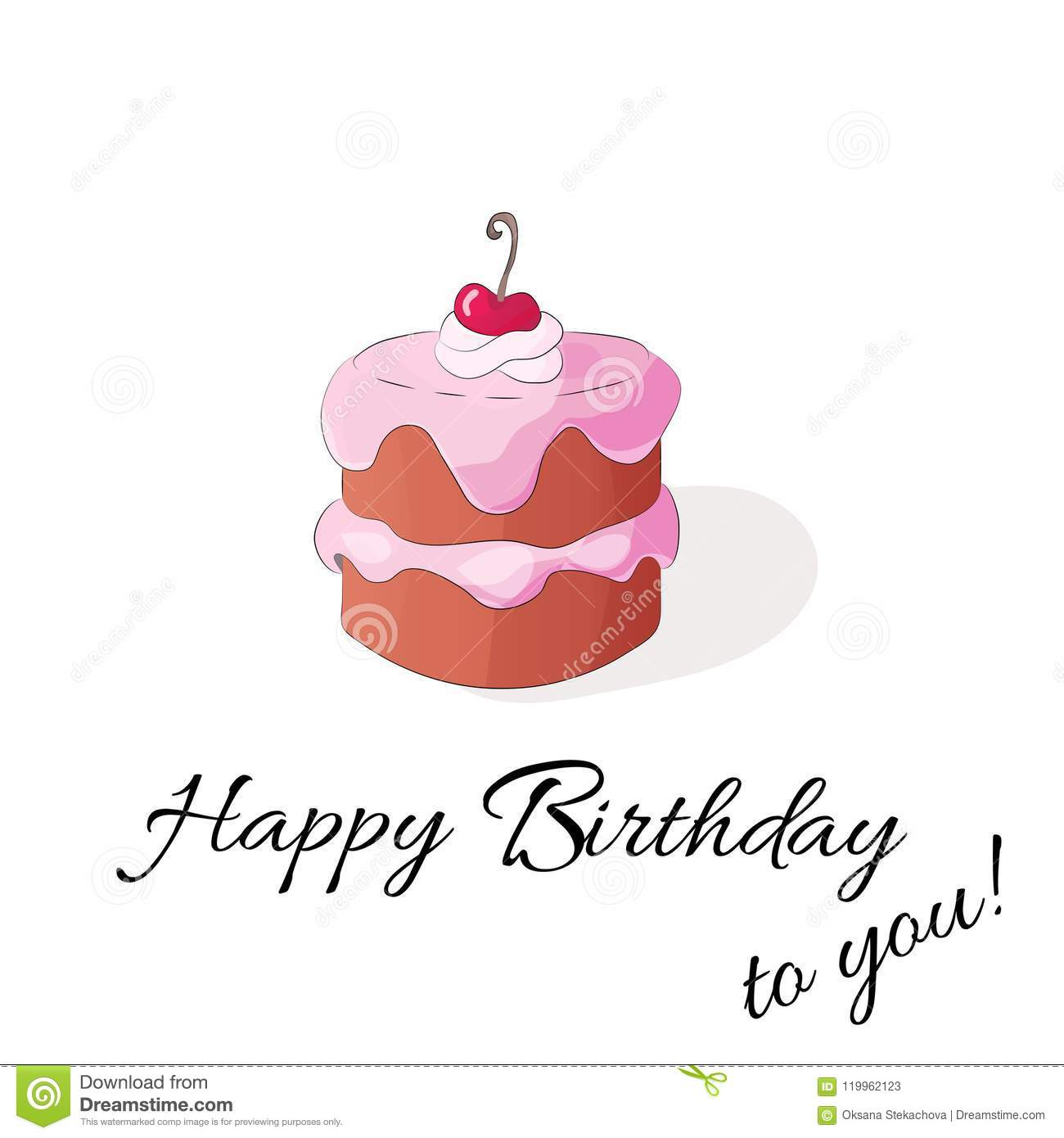 Happy Birthday To You Vector Isolated Illustration With Cake On