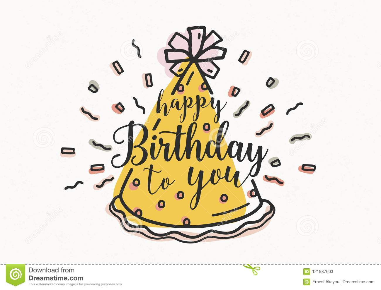 Download Happy Birthday To You Wish Handwritten With Cursive Font And Decorated Cone Party Hat