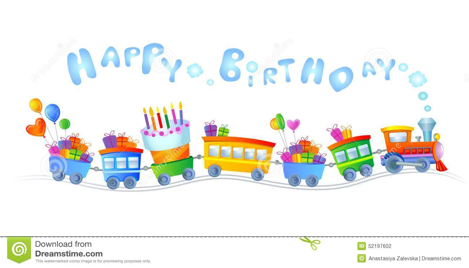 Happy Birthday Train Stock Vector Illustration Of Design 52197602