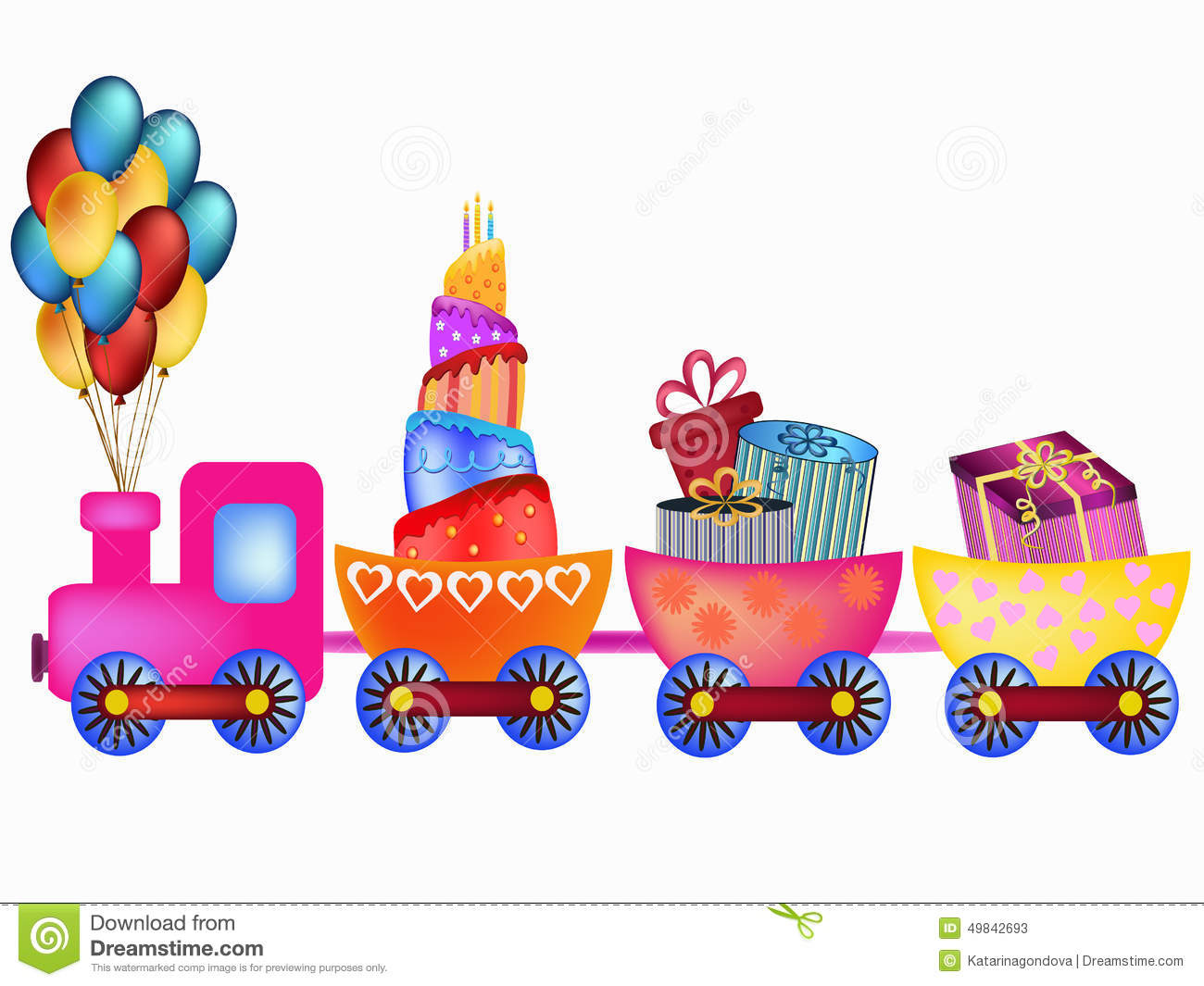 Colorful happy birthday train with cake, balloon and presents ...