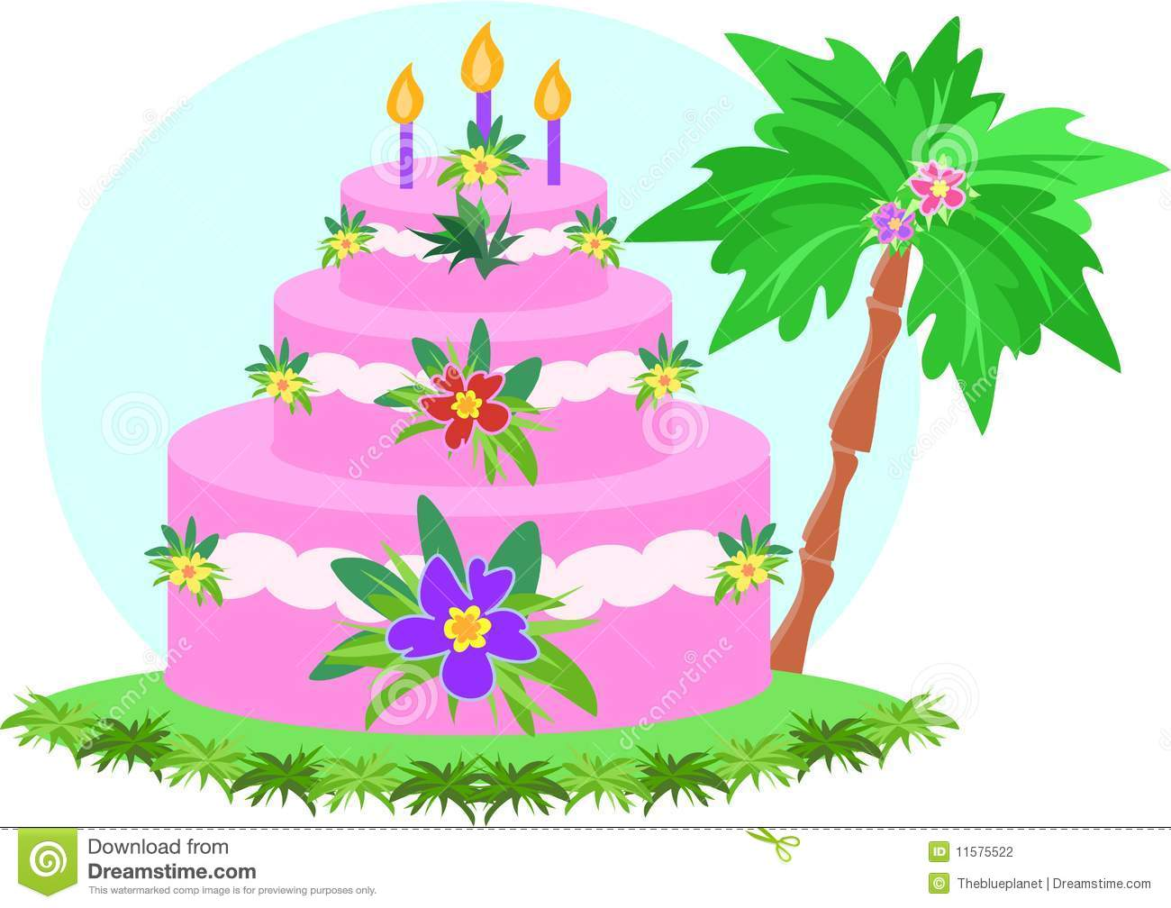 Tropical Birthday Cake Clipart