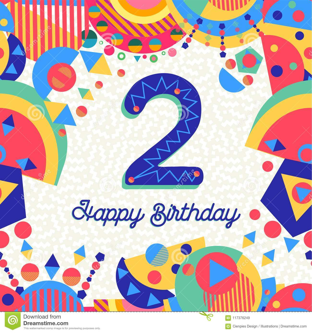 Two 2 year birthday party greeting card number stock vector download two 2 year birthday party greeting card number stock vector illustration of font stopboris Images