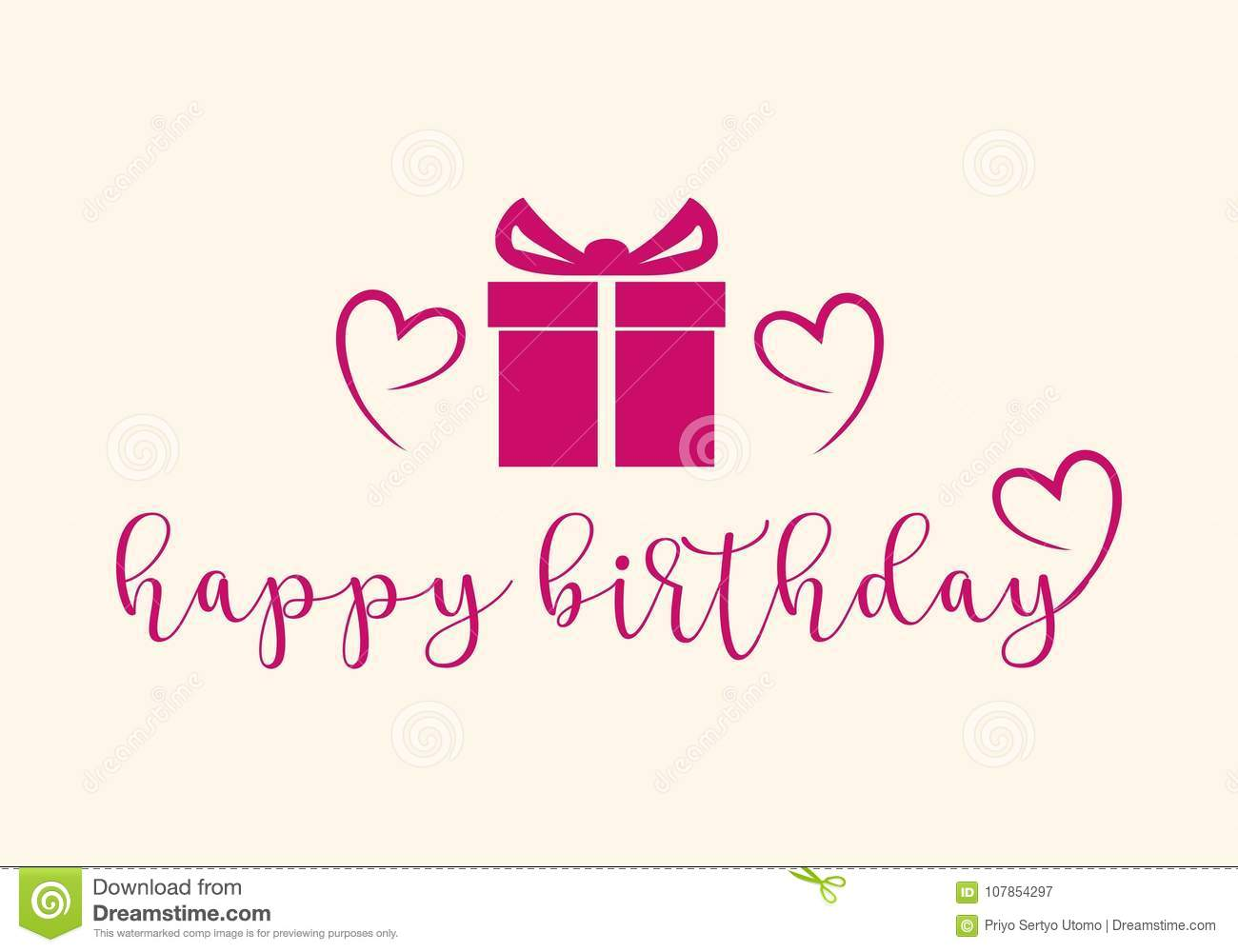 Happy Birthday Typographic Design For Greeting Cards Print And Cloths