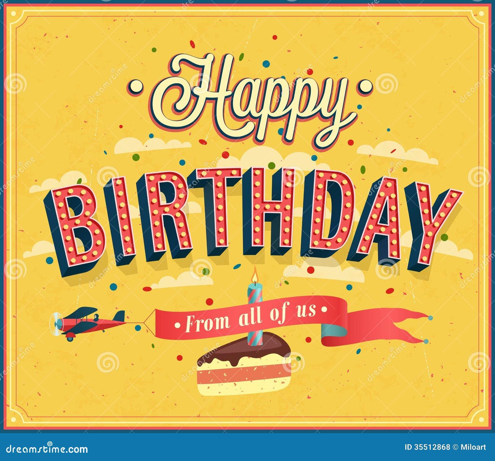 Retro happy birthday vector happy birthday vintage card with - Happy Birthday Typographic Design Royalty Free Stock