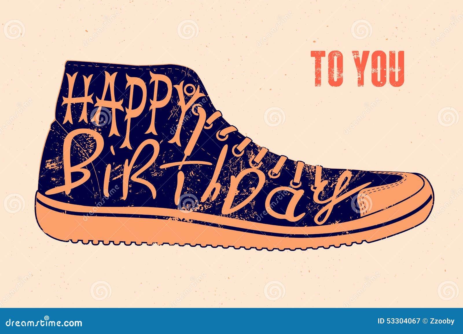 Retro happy birthday vector happy birthday vintage card with - Happy Birthday Typographical Retro Grunge Birthday Card