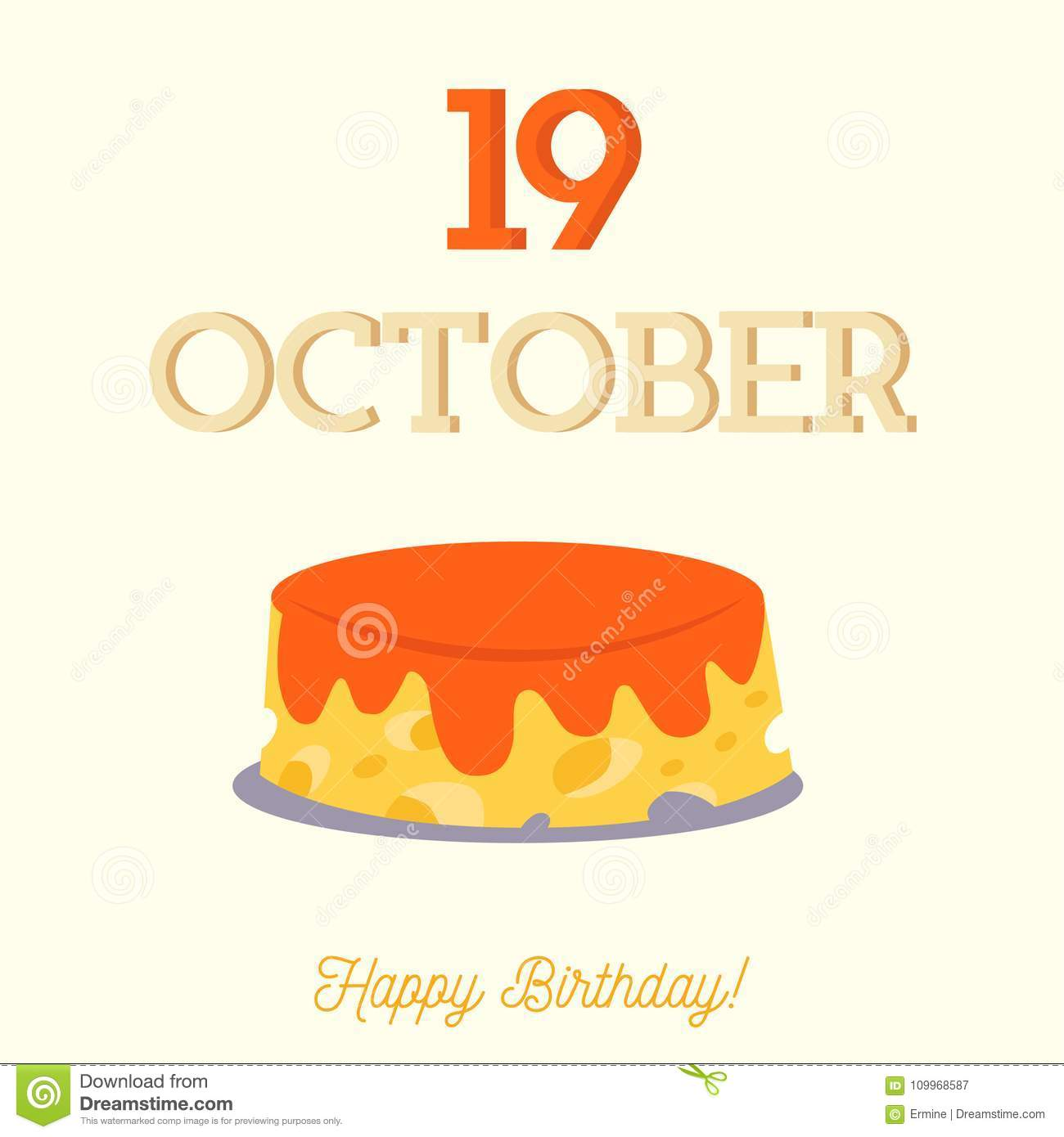 Happy Birthday Typography With A Flat Cake Stock