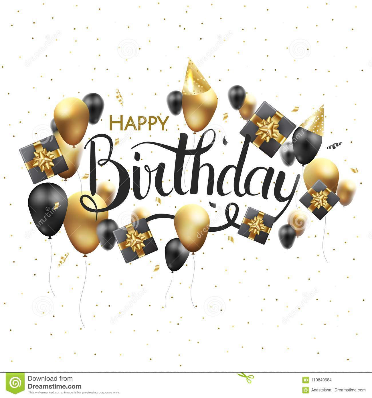 Happy birthday typography vector design for greeting cards and happy birthday typography vector design for greeting cards and poster with balloon confetti and gift box design template for birthday celebration m4hsunfo