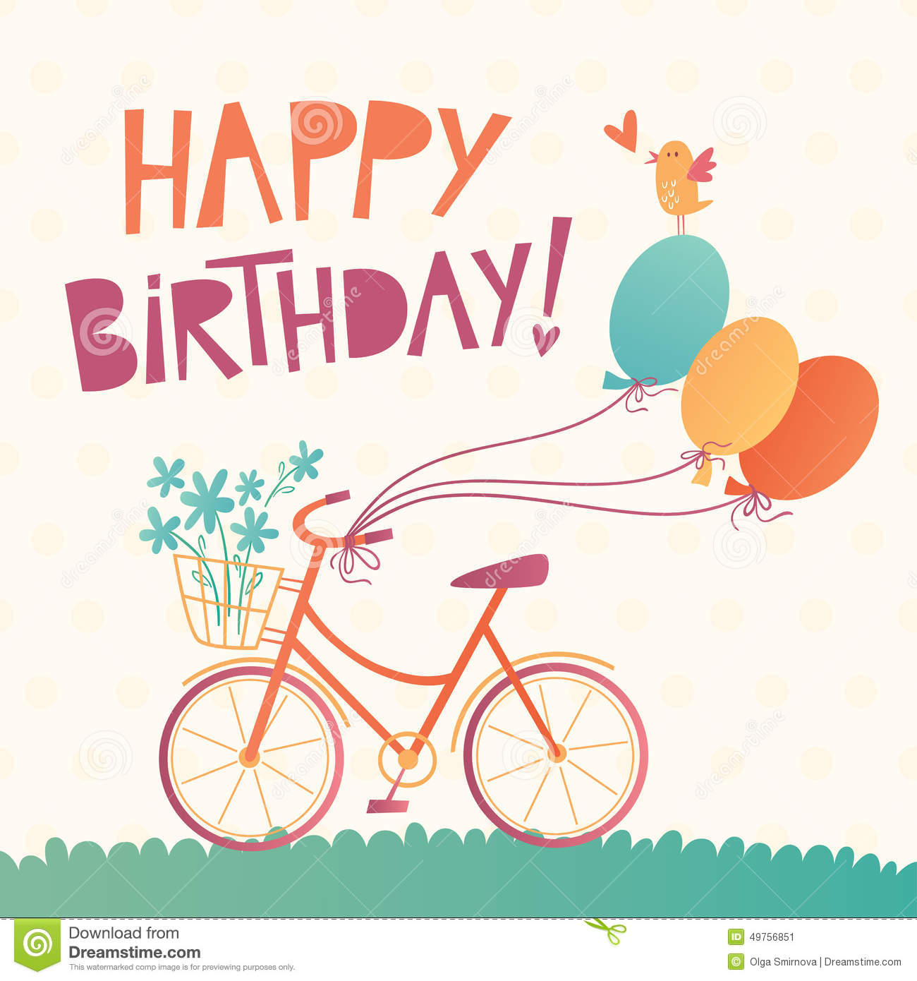 Happy Birthday vector card with a bicycle