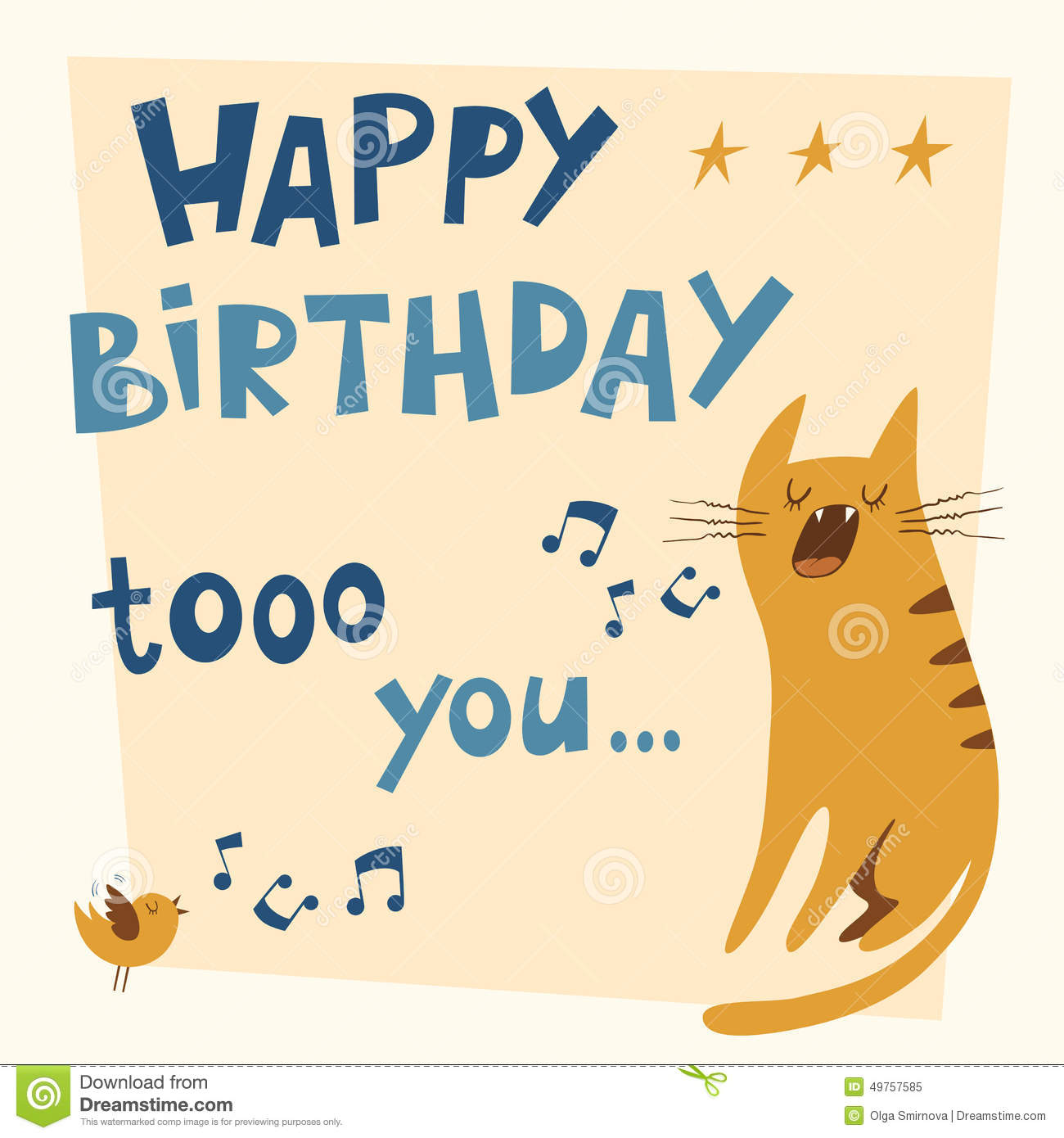 Happy Birthday Vector Card With A Cat And Bird Singing