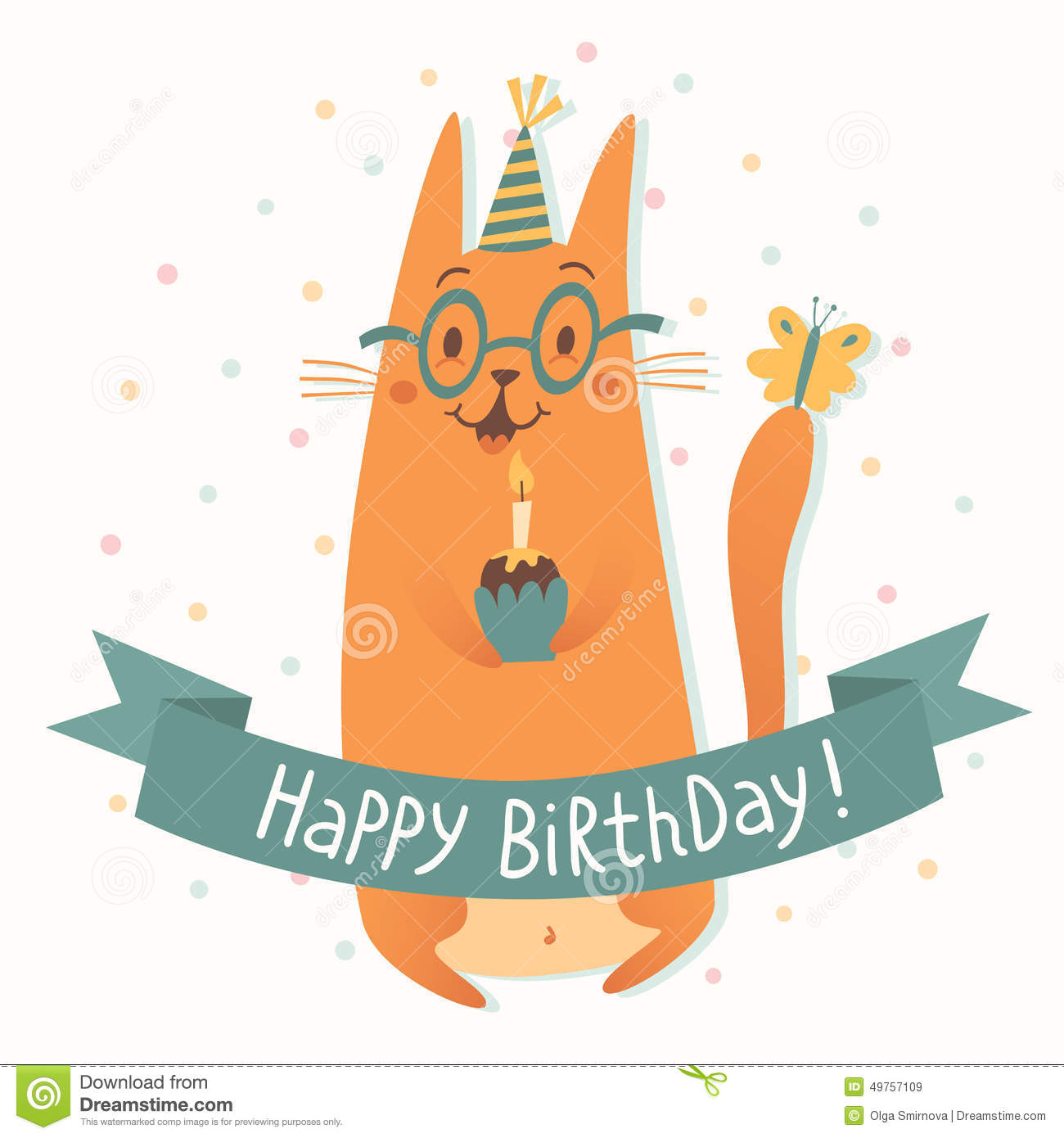 Happy Birthday Vector Card With A Cat Stock Vector Image