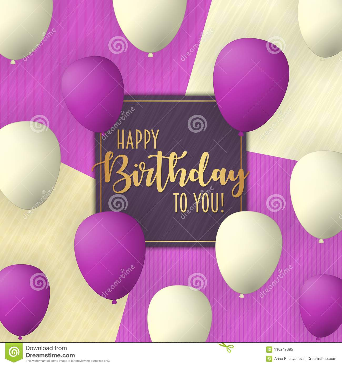 Happy Birthday vector card design with flying balloons. Vintage trendy background.