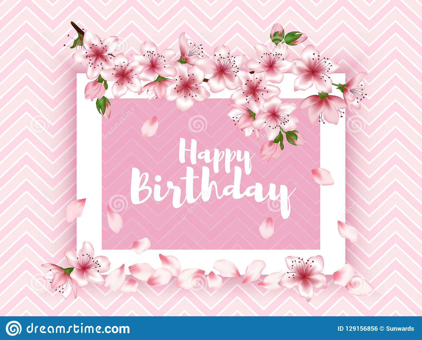 Happy Birthday Vector Card Japanese Cherry Blossom Pink Sakura Flowers Frame Elegant Greeting With Apple Branch Tree Bloom