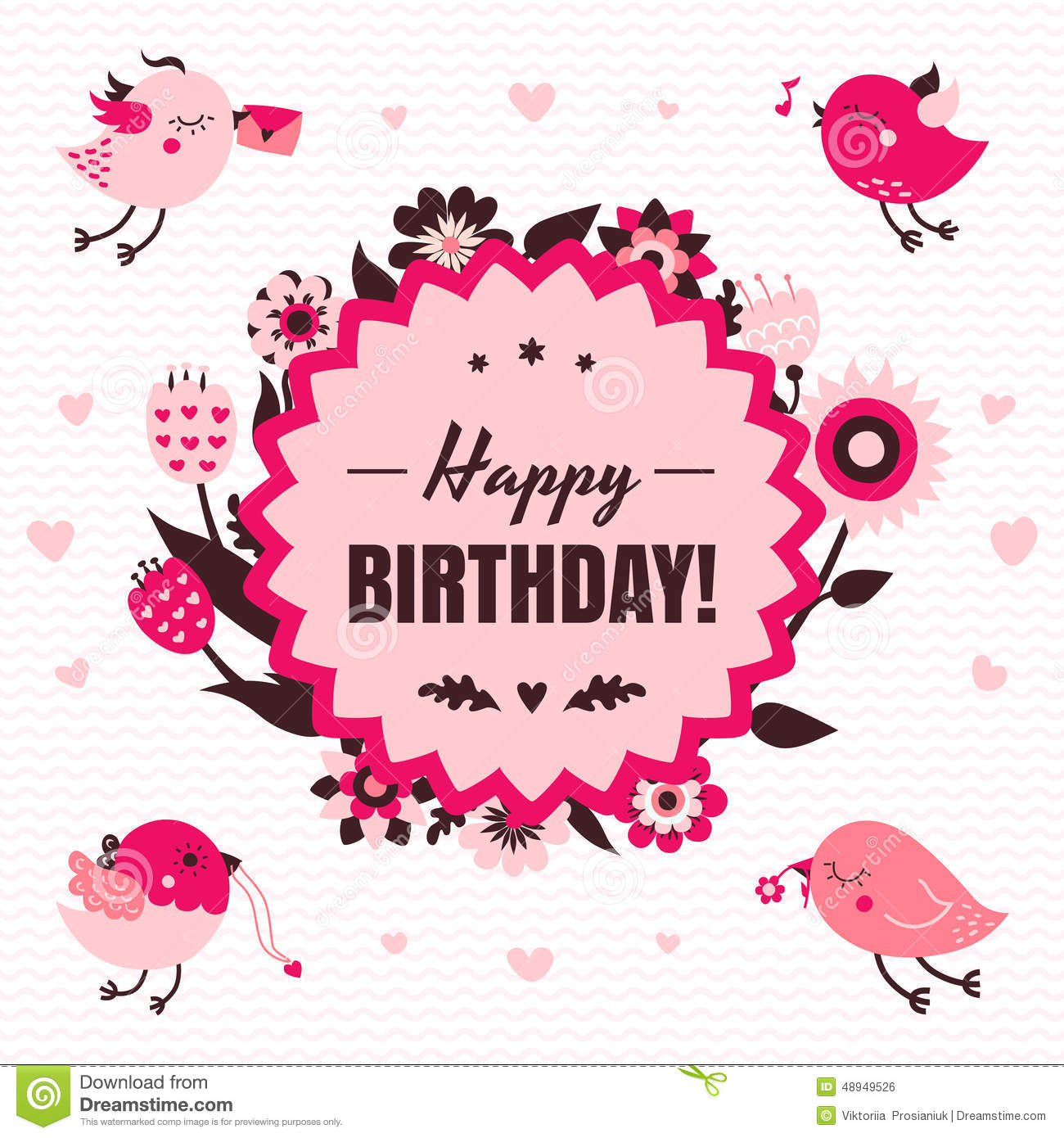 Happy Birthday Vector Card In Light And Dark Pink And Brown Colors