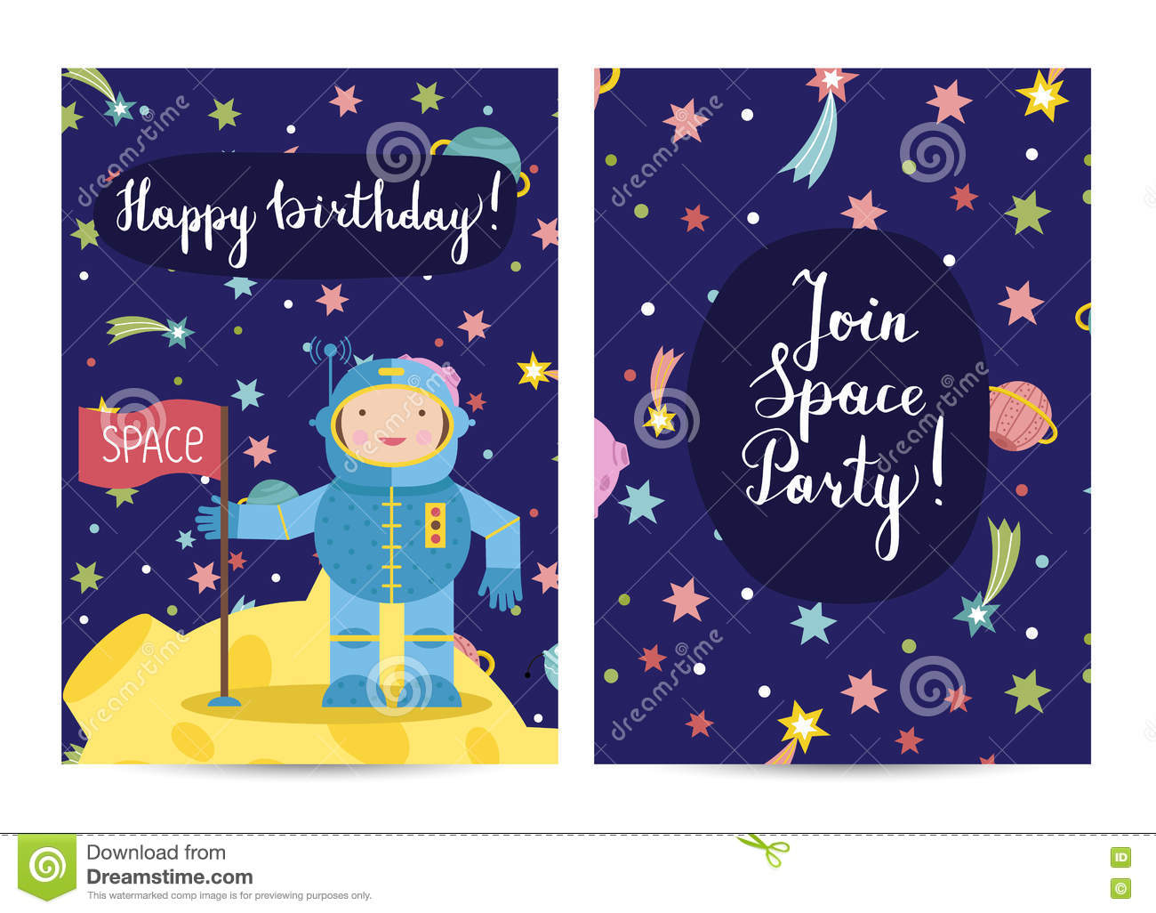 Happy birthday vector cartoon greeting cards set stock vector happy birthday cartoon greeting card on space theme smiling astronaut on moon with flag colorful stars planets fiery comets around vector illustration m4hsunfo