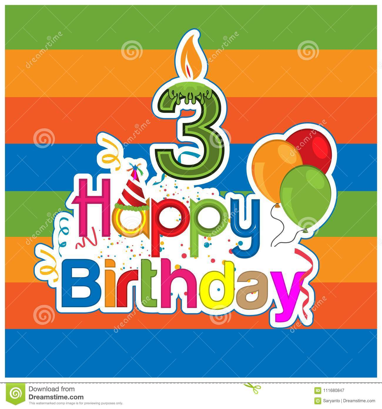 Happy Birthday Vector Design With Number Three For A Year Old Child Banner Sticker Greeting Cards And Background EPS File Available See More