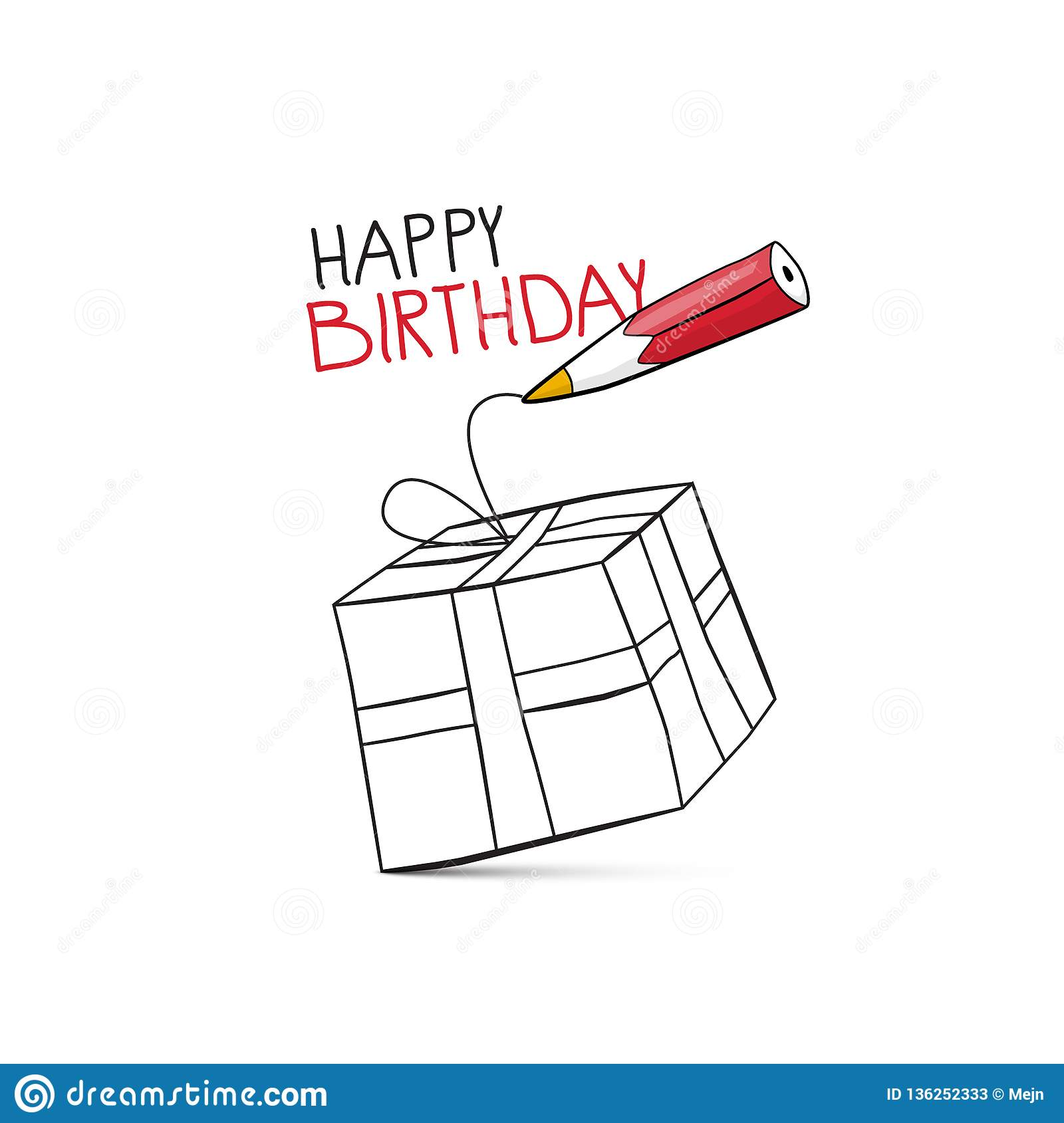 Happy birthday vector design with pencil and gift box stock vector