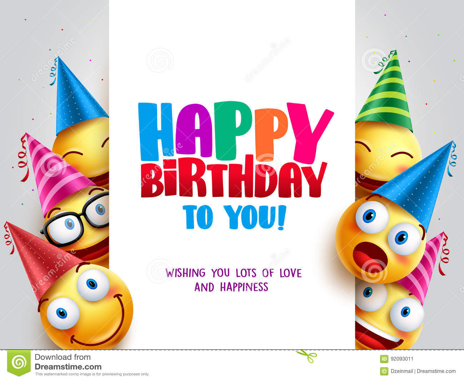 Happy Birthday Vector Design With Smileys Wearing Birthday