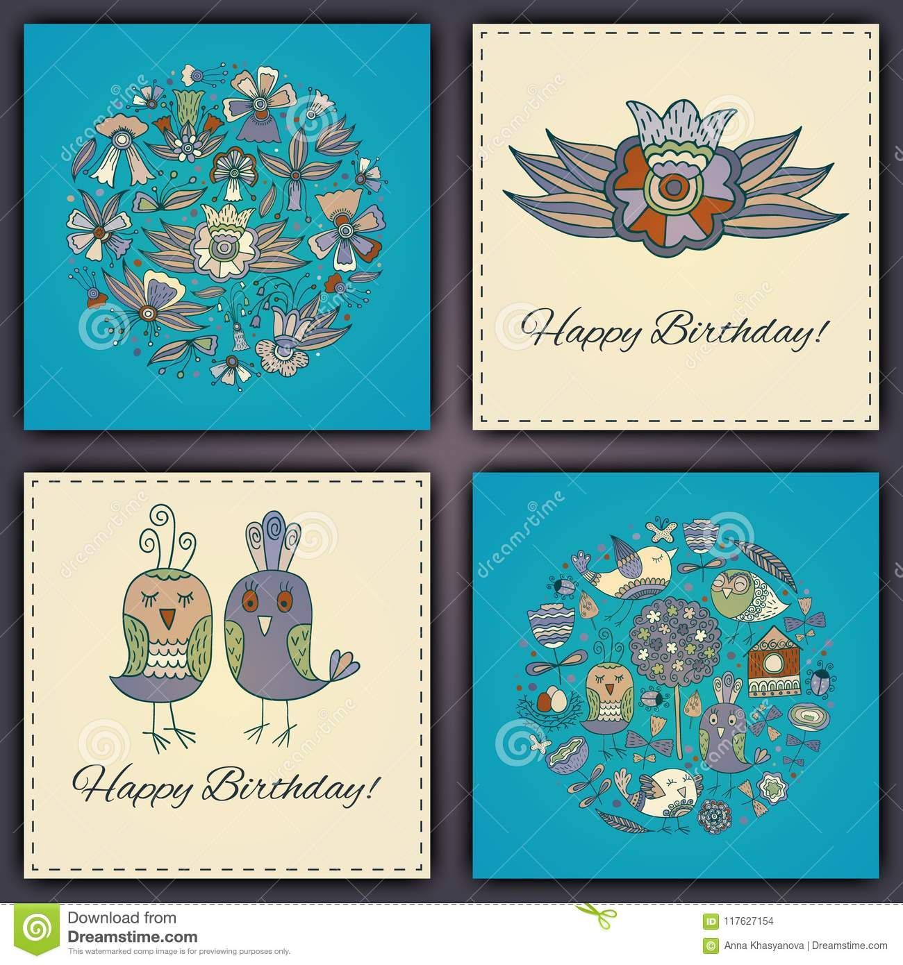 Happy Birthday Vector Greeting Card With Abstract Doodle Birds And