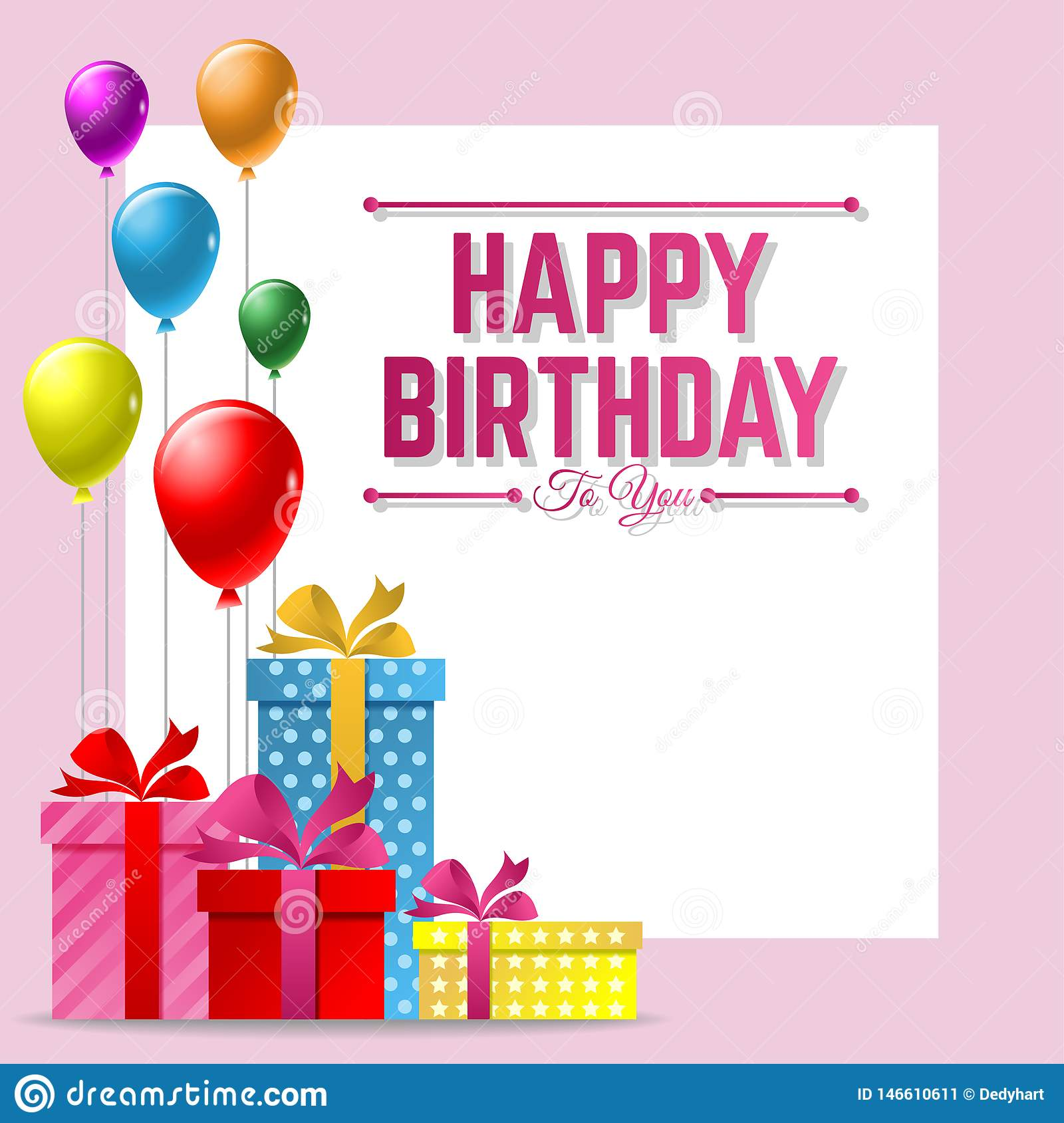 Happy Birthday Vector Greeting Card Background With