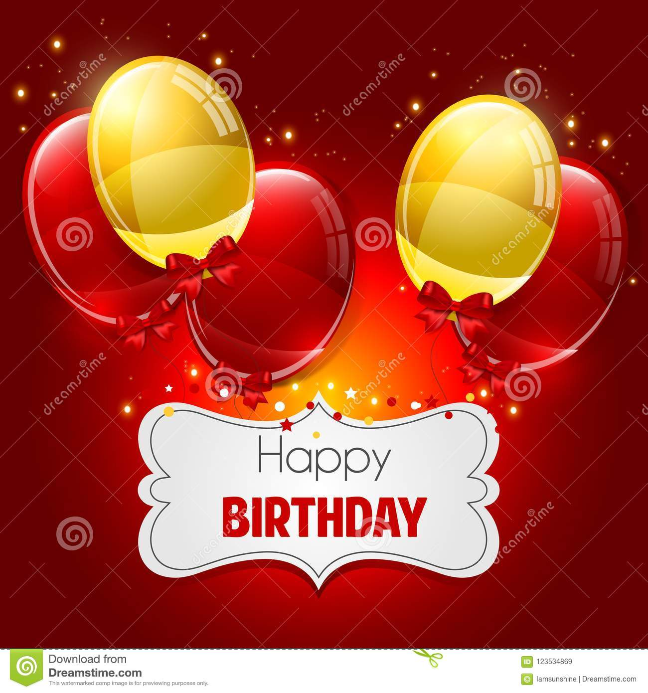Happy Birthday Greeting Card With Balloons