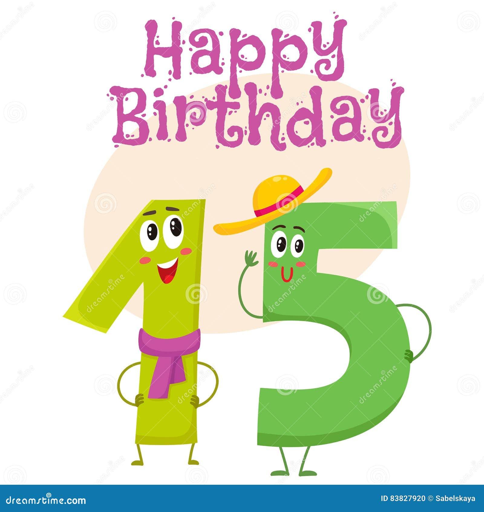 Happy birthday vector greeting card design with fifteen number happy birthday vector greeting card design with fifteen number characters kristyandbryce Choice Image