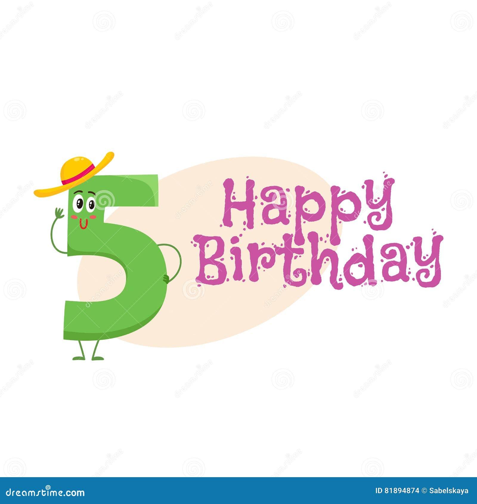 Happy birthday vector greeting card design with five number happy birthday vector greeting card design with five number characters kristyandbryce Gallery