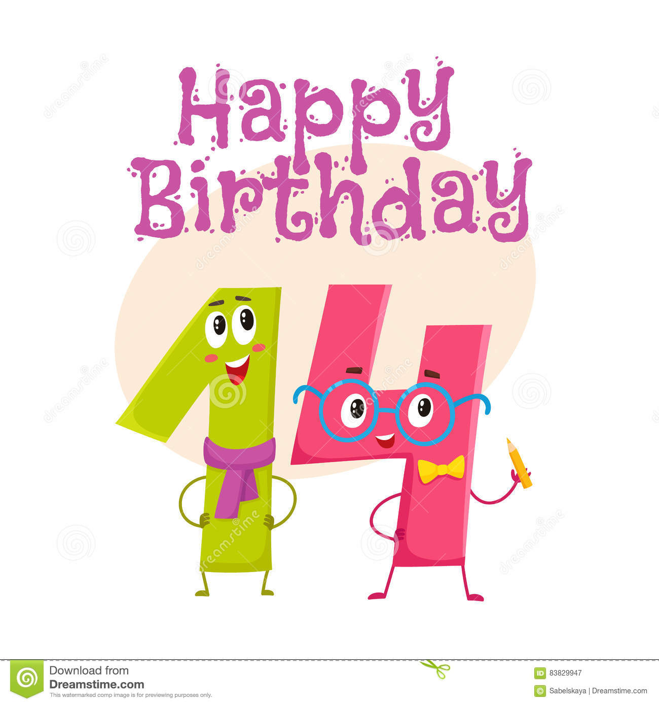 Happy birthday vector greeting card design with fourteen number characters