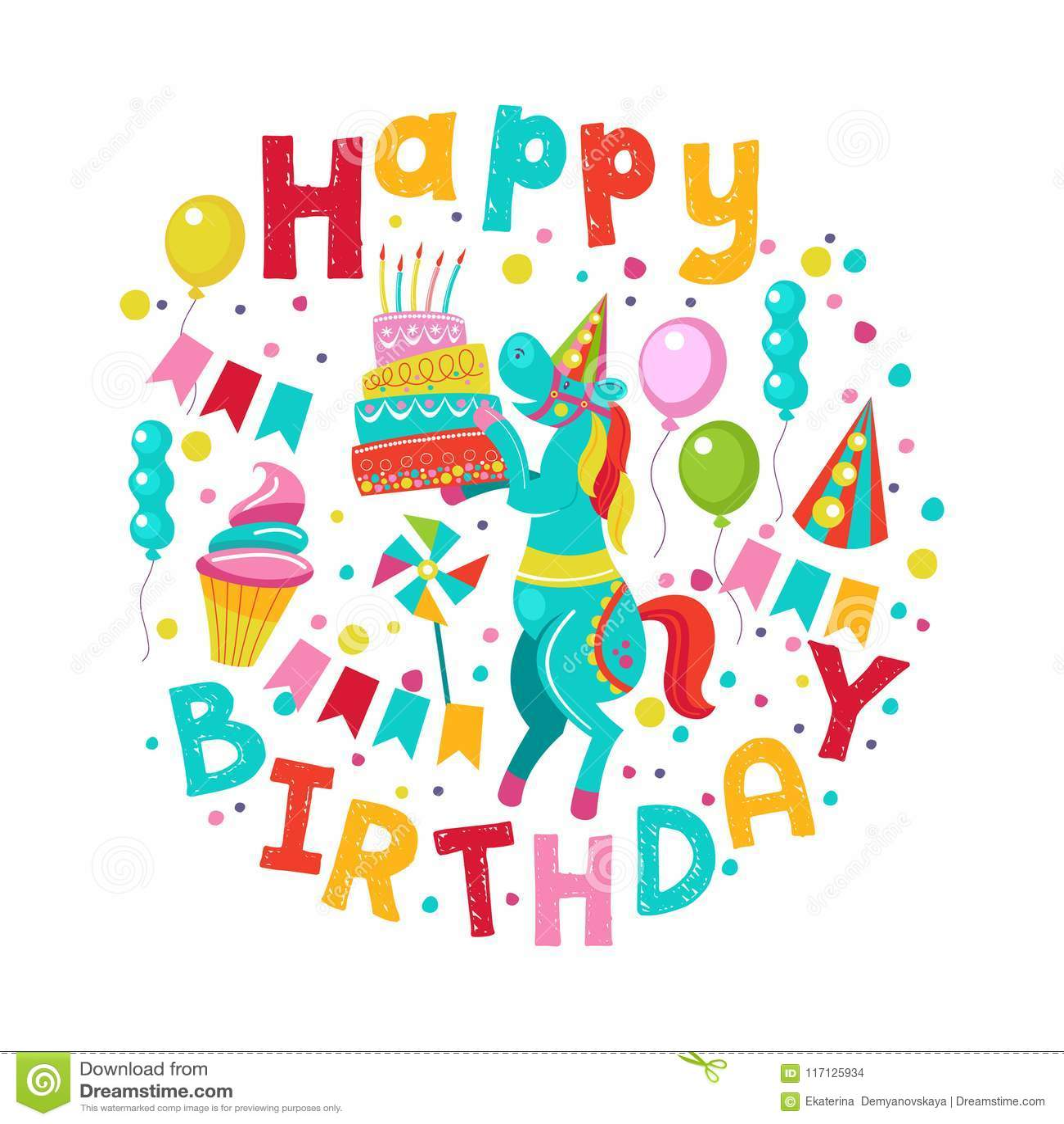 Happy Birthday. Vector Greeting Card Stock Vector