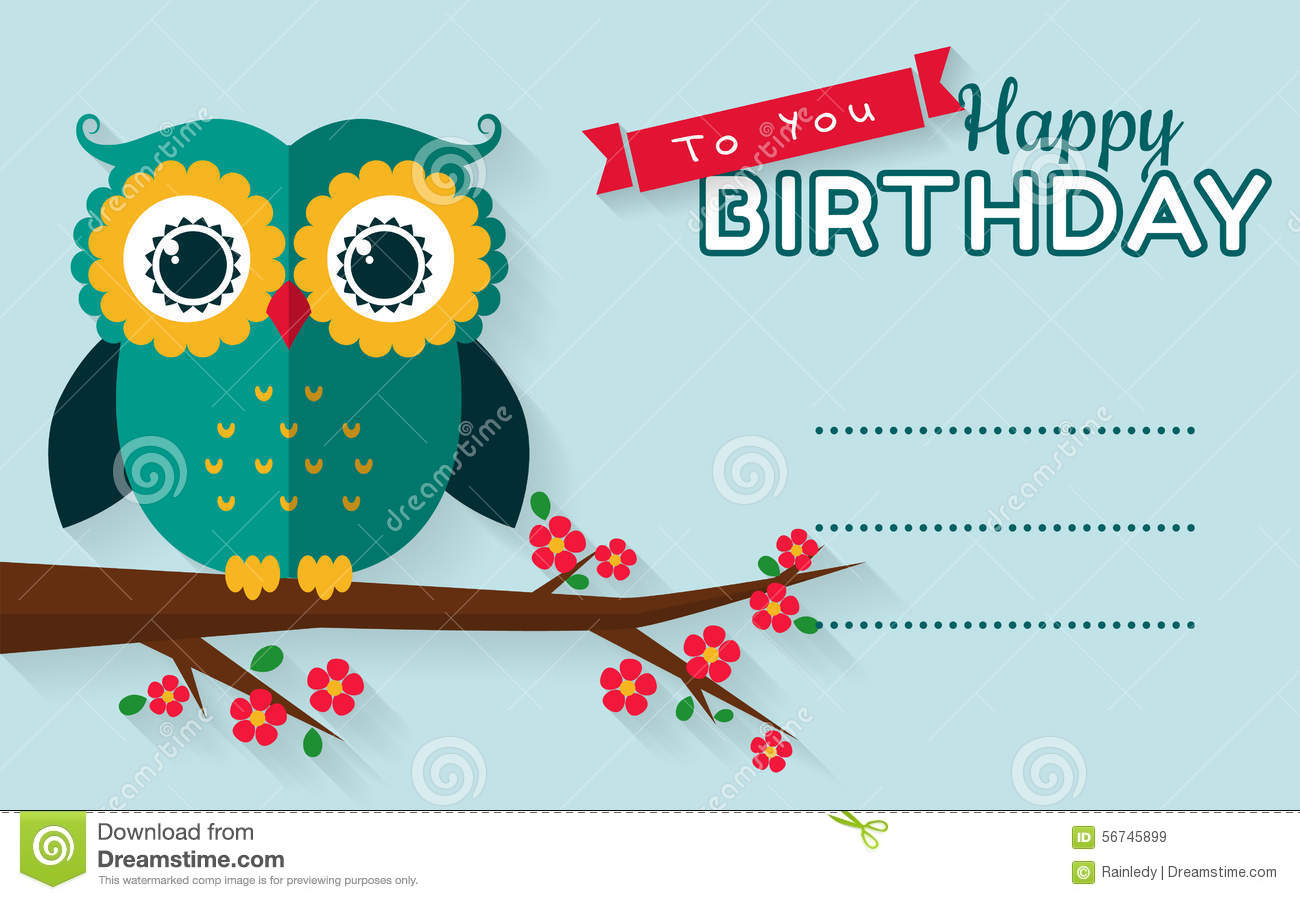 happy birthday card owl stock photos, images,  pictures   images, Birthday card