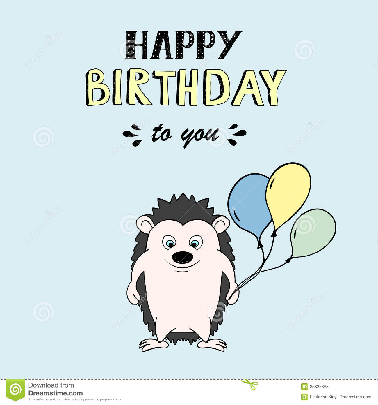Happy Birthday Vector Lettering Party Illustration With Baby