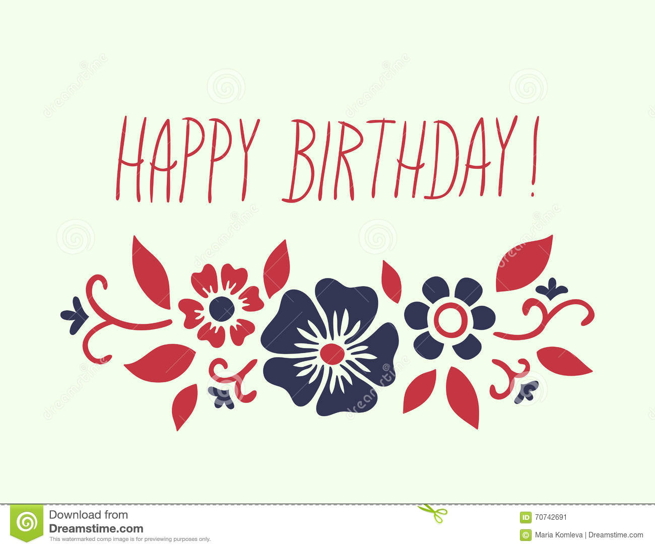 Vector Template For Birthday Card With Ornamental Floral Pattern And Hand Writing Inscription