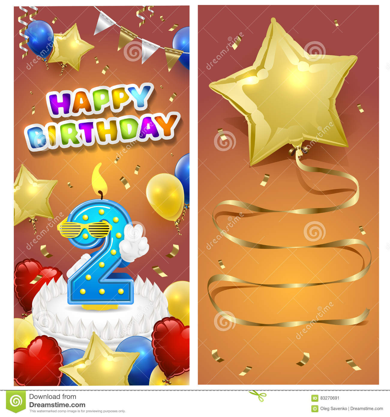 happy birthday vertical card template with gold sparkles and number 2 on cake